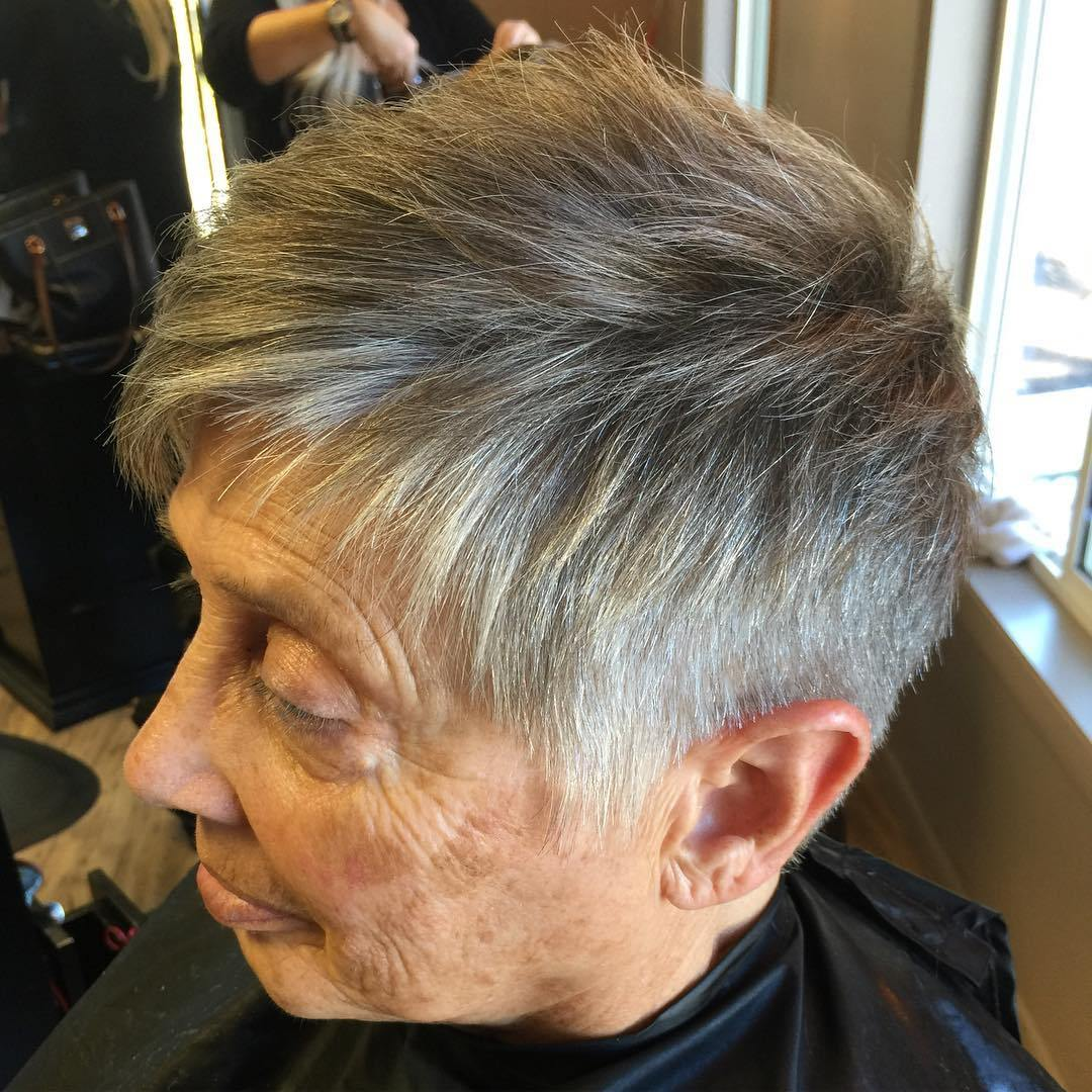 Grey Pixie Cut Over 70