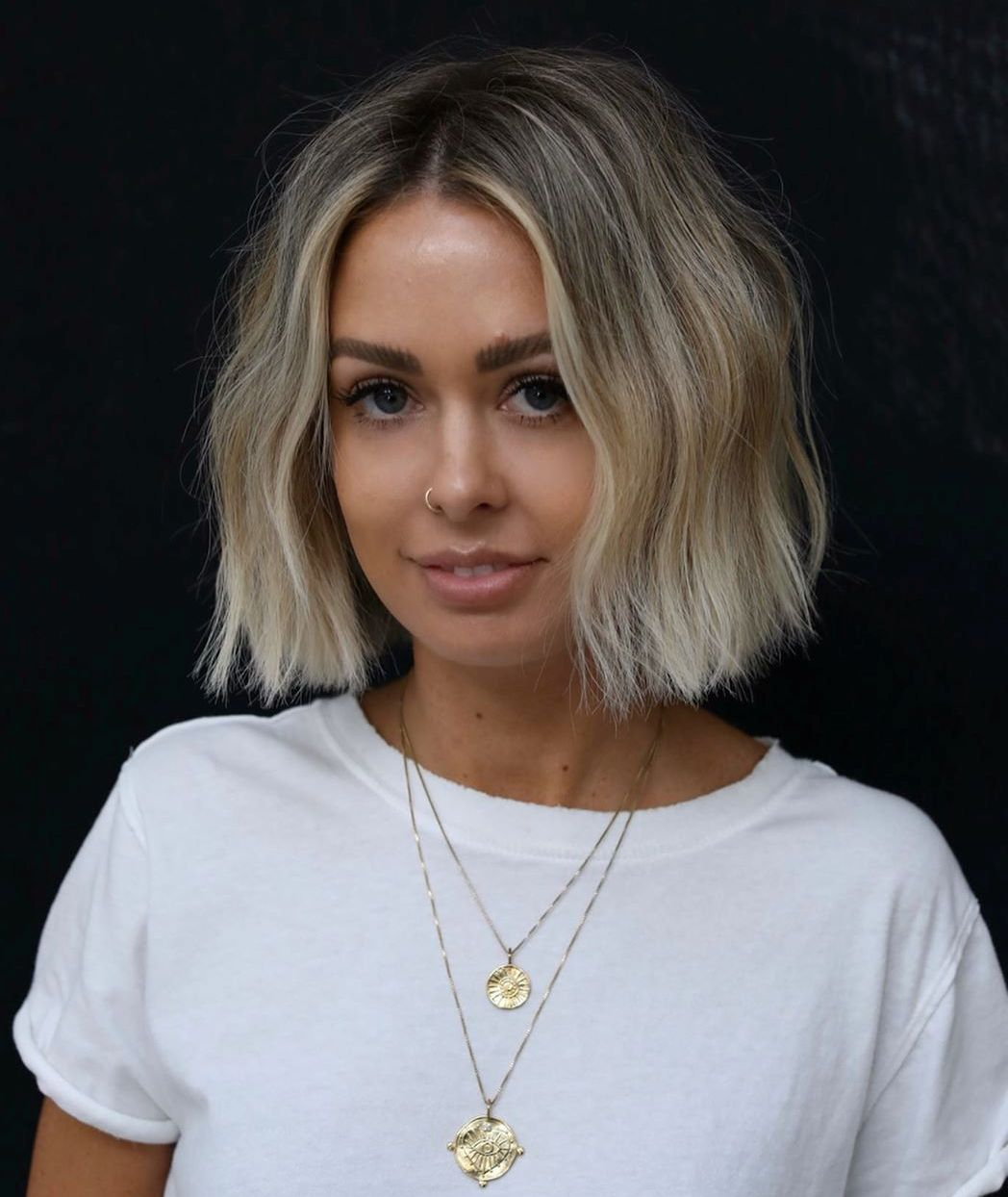 Modern bob with a middle part