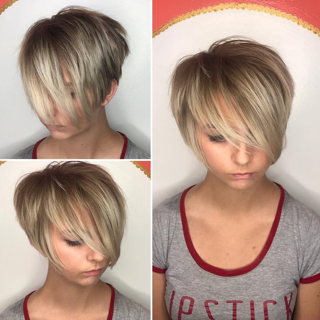 Short Shaggy Pixie con Blonde Balayage y Long Bangs