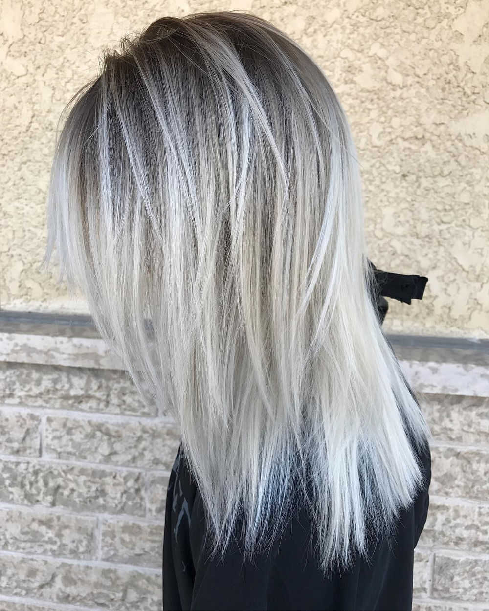 White Grey Poker Straight Shag para cabello fino